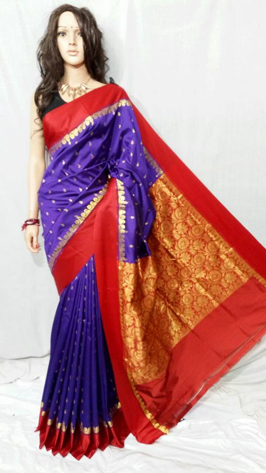 Red Navy Blue Garad Silk Sarees