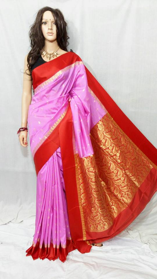 Red Pink Garad Silk Sarees