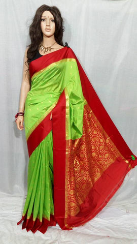 Red Light Green Garad Silk Sarees