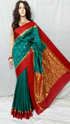 Red Dark Green Garad Silk Sarees