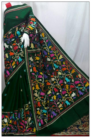 Black Flowers Kantha  Sarees