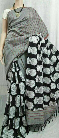 Balck Grey Cotton Khesh Sarees