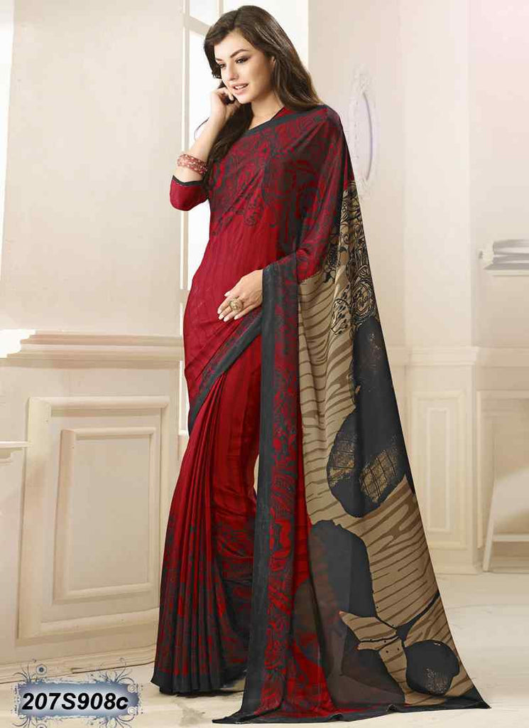 Beige & Red Bemberg Silk Sarees (Add to Cart Get 15% Extra Discount)