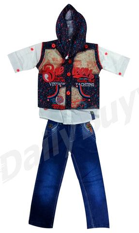 Red Blue Design Hooded Shirt And Jeans Boys Clothing