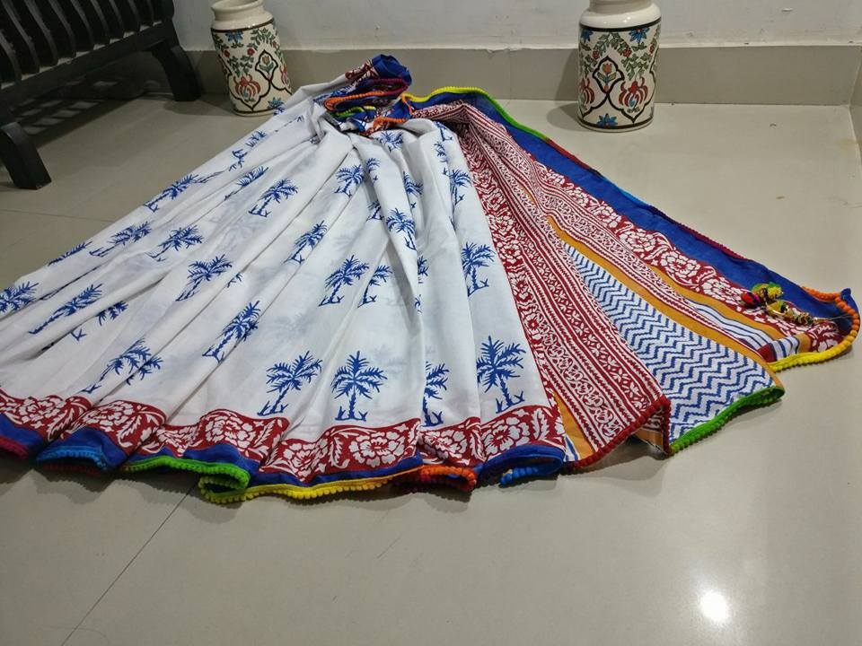 White Bagru Printed Cotton Sarees