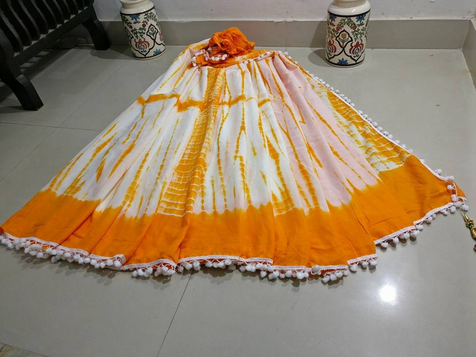 Yellow White Bagru Printed Cotton Sarees