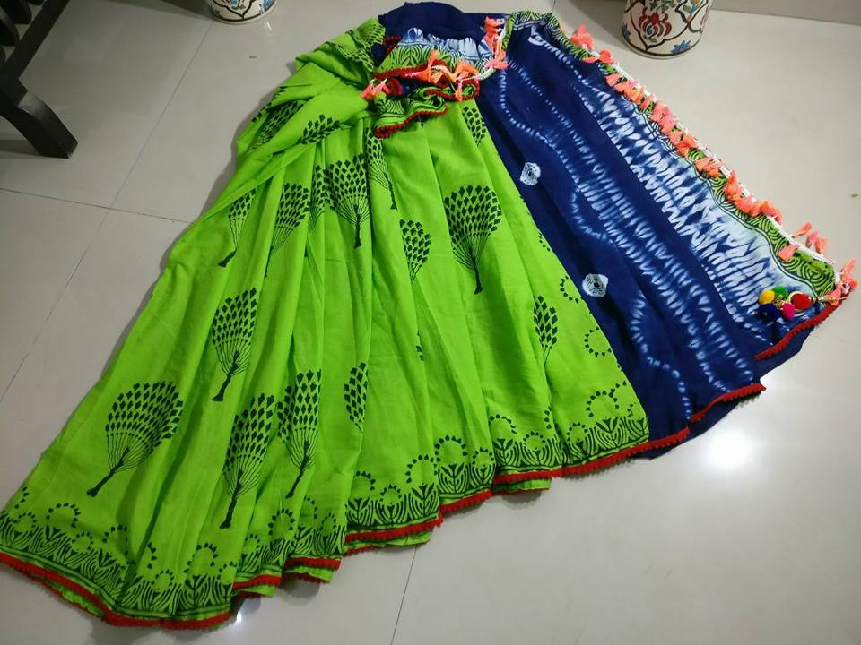 Green Blue Bagru Printed Cotton Sarees