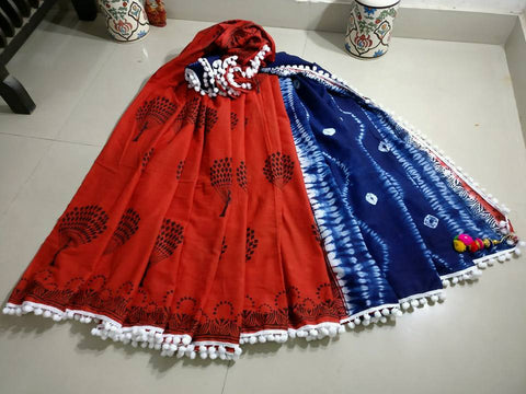 Red Bagru Printed Cotton Sarees