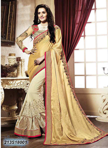 Beige & Off White Georgette Sarees