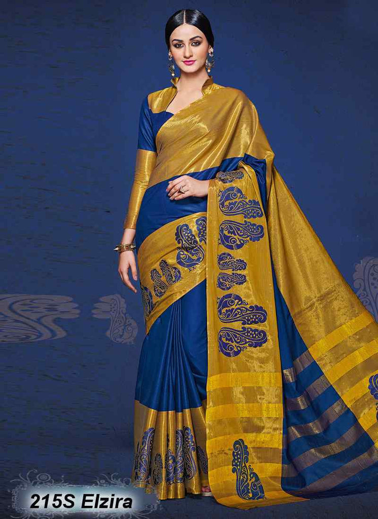 Blue & Golden Modal Cotton Gota Sarees
