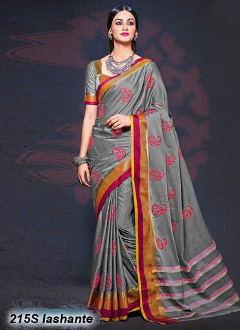 Grey  Modal Cotton Gota Sarees