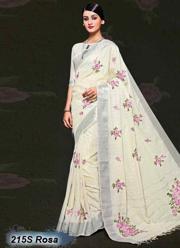 White  Modal Cotton Gota Sarees