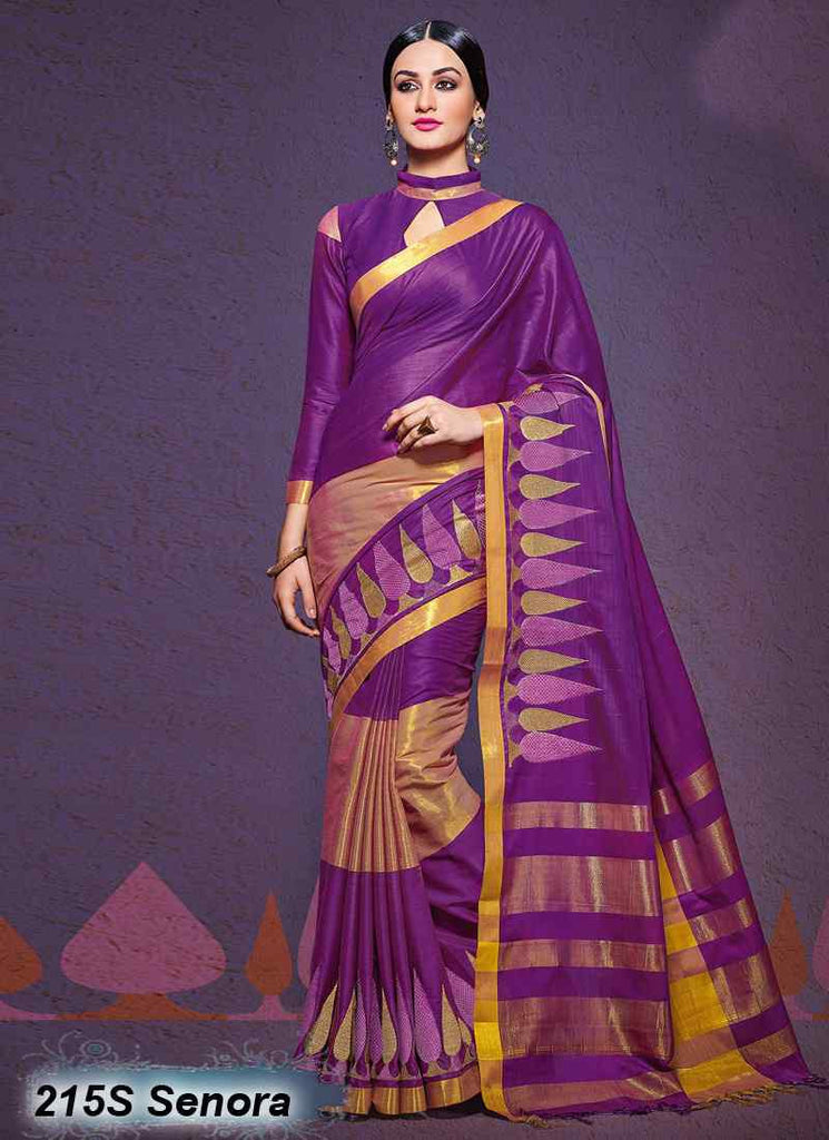 Purple  Modal Cotton Gota Sarees