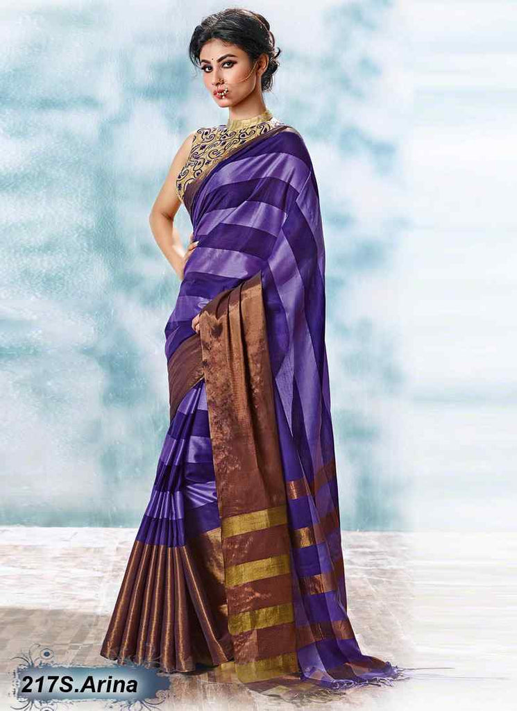 Purple & Beige Modal Cotton Gota Sarees
