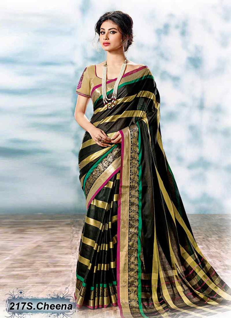 Black & Golden Modal Cotton Gota Sarees - Dailybuyys