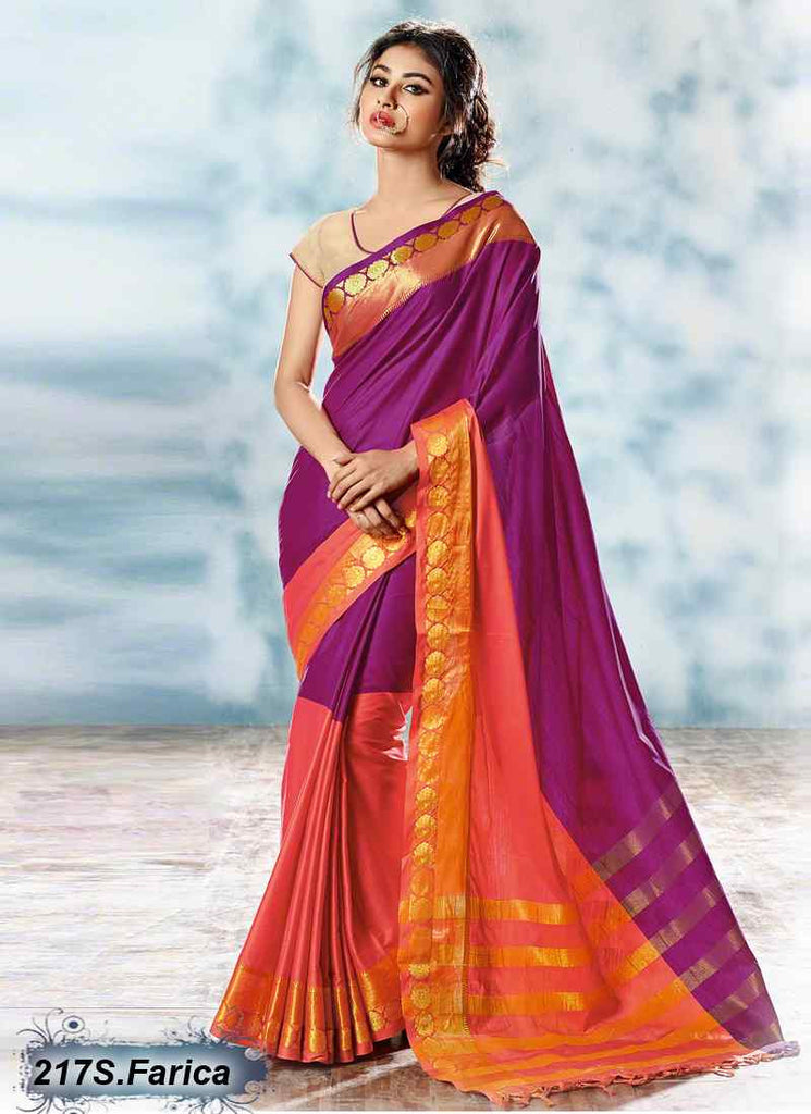Orange & Purple Modal Cotton Gota Sarees
