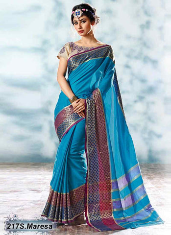 Blue Modal Cotton Gota Sarees