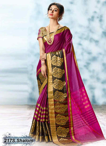 Purple & Golden Modal Cotton Gota Sarees
