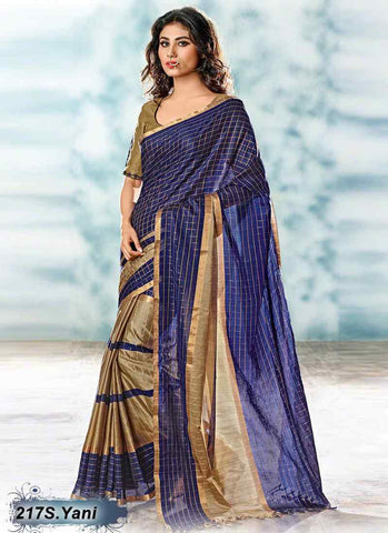 Navy Blue & Beige Modal Cotton Gota Sarees
