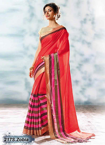 Orange & Redium Modal Cotton Gota Sarees