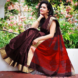 Marron Raw Silk Sarees