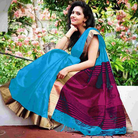 Sky Raw Silk Sarees