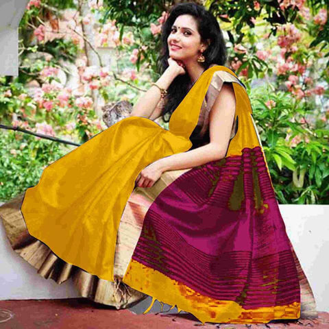 Yellow Raw Silk Sarees