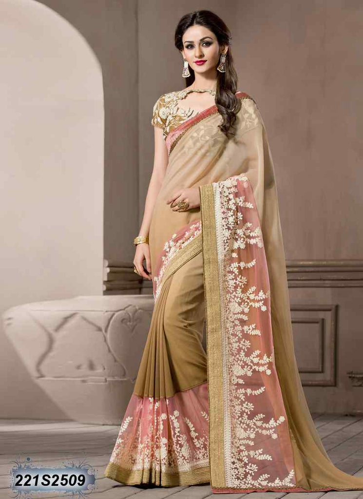 Beige & Brown Georgette Sarees