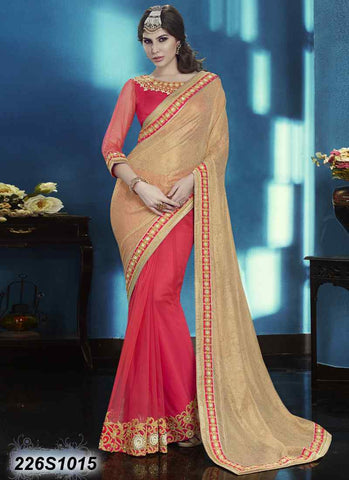 Pink & Red Net Sarees (Add to Cart Get 15% Extra Discount)