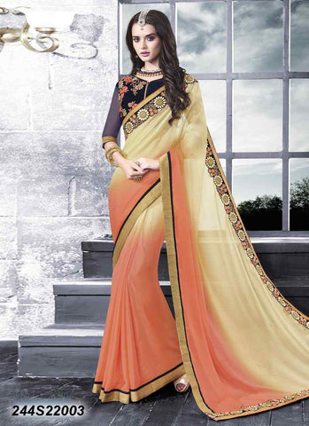 Beige & Orange Georgette Sarees