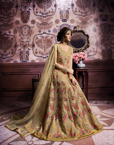 Very Light Yellow Dhupian & Georgette Santoon Lehenga Choli