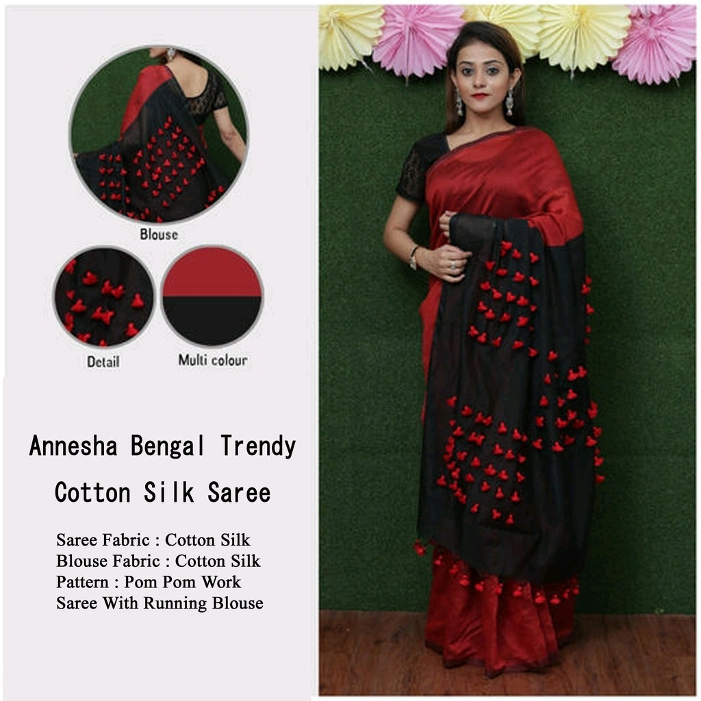 Red Black Handloom Cotton Silk Sarees