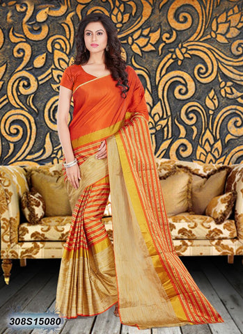 Orange, Beige Bhagalpuri Silk Sarees