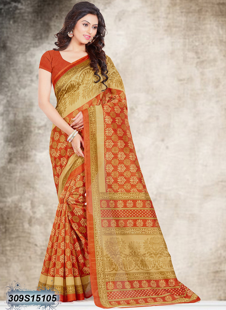 Beige,Orange Bhagalpuri Silk Sarees
