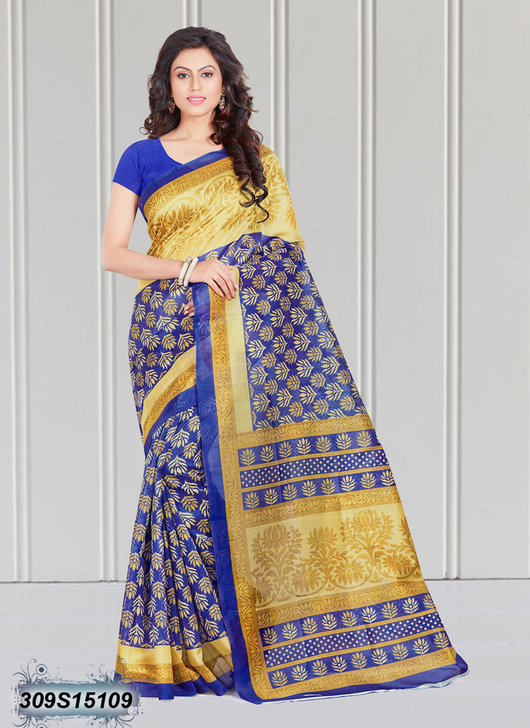 Blue,Golden Bhagalpuri Silk Sarees