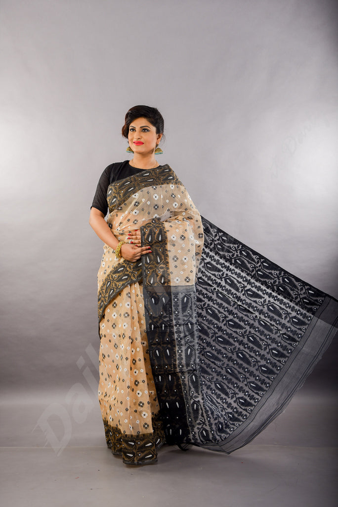 Black Off White Dhakai Jamdani Sarees