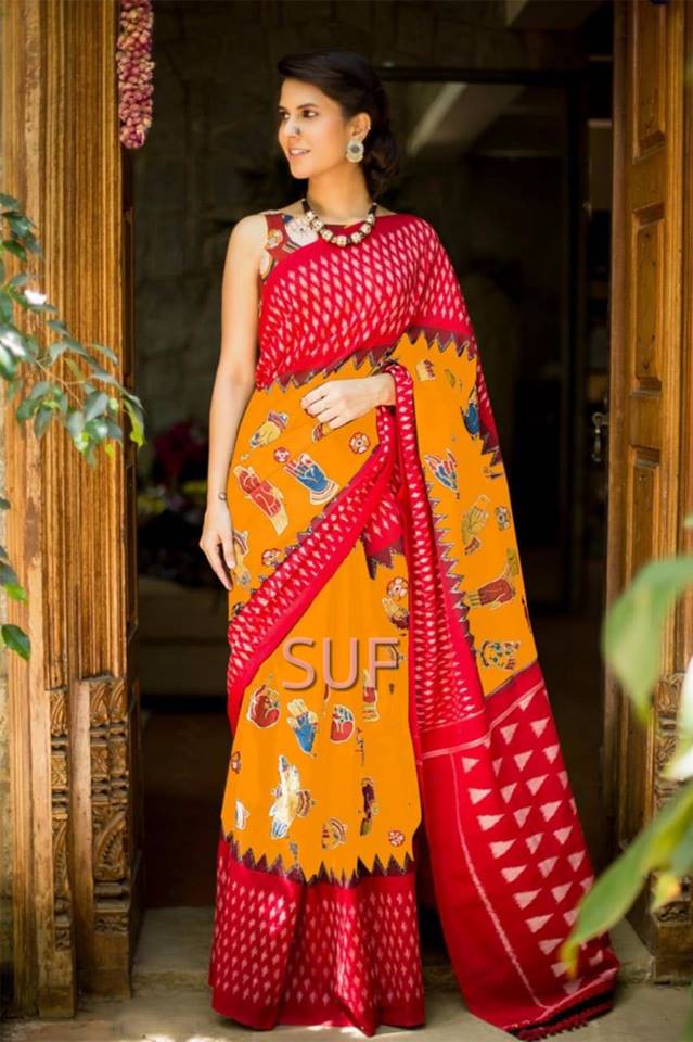 Orange Bhagalpuri Silk Sarees