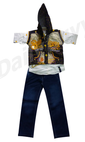 Yellow Blue Design Hooded Shirt And Jeans Boys Clothing