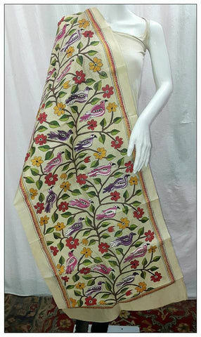 Handpicked Off White & Multi Tussar Kantha Stitch Stoles