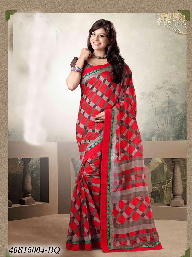 Red & Brown Banarasi Silk Sarees