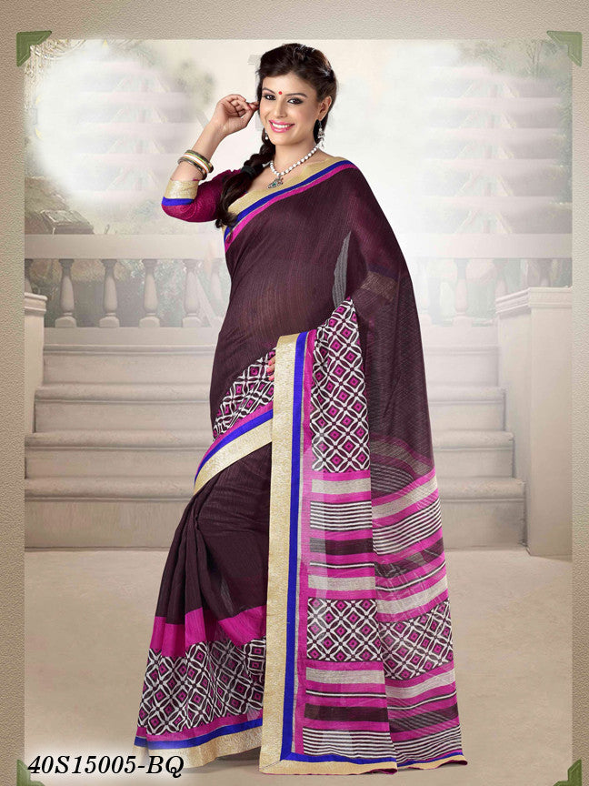 Pink & Brown Banarasi Silk Sarees
