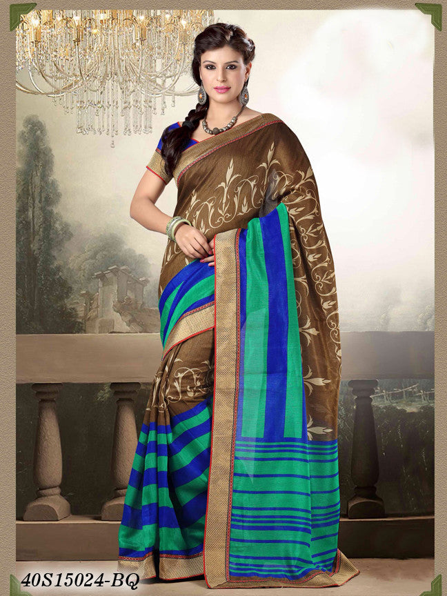 Green & Brown Banarasi Silk Sarees