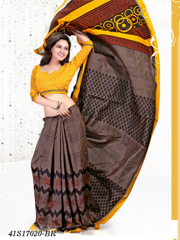 Yellow & Brown Banarasi Silk Sarees