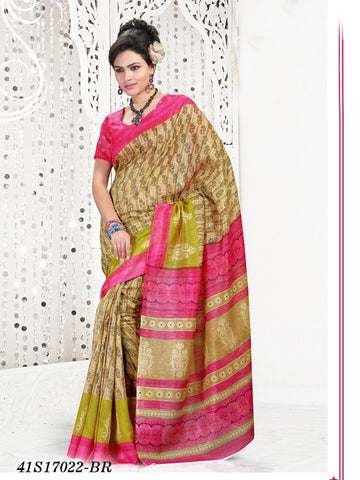 Beige & Pink Banarasi Silk Sarees (Add to Cart Get 15% Extra Discount)