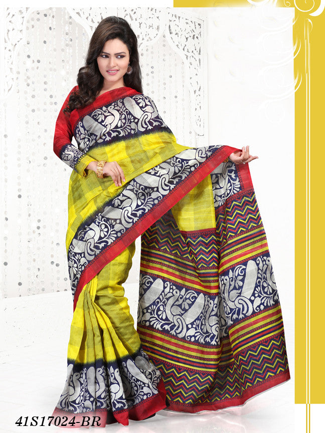Yellow & Red Banarasi Silk Sarees