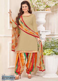 Beige & Multi Glace Cotton Salwar