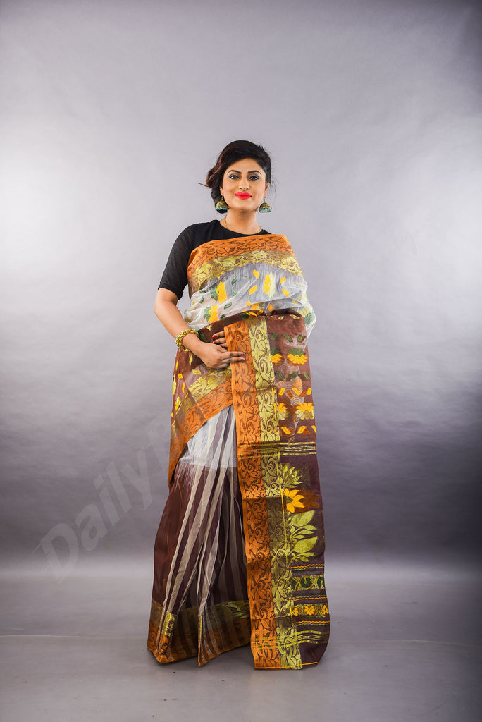Brown Golden Dhakai Jamdani Sarees
