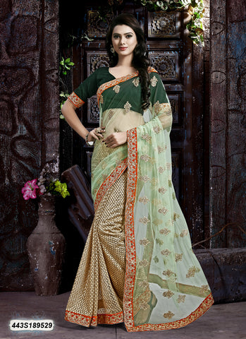 Beige, Orange Net Sarees