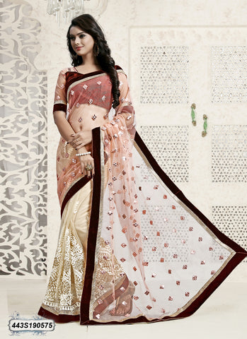 Off White & Multi  Net Sarees