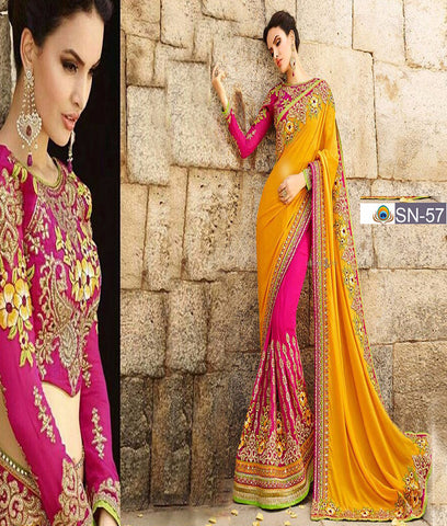 Georgette Yellow Silk Party Wear Sarees